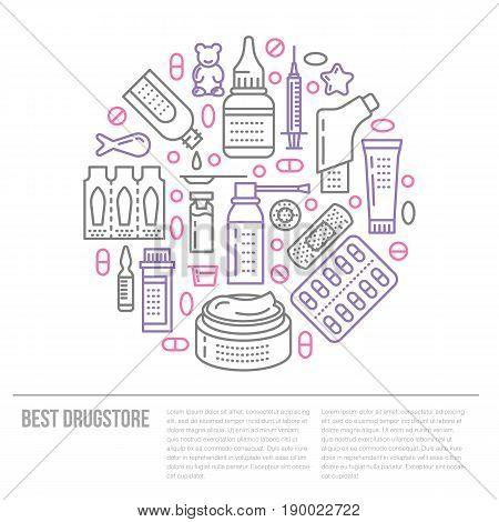 Medical, drugstore poster template. Vector medicament line icons, illustration of dosage forms - tablet, capsules, pills. Medicines antibiotics vitamins, painkiller, aerosol spray. Healthcare banner.