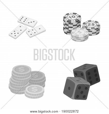 Domino bones, stack of chips, a pile of mont, playing blocks. Casino and gambling set collection icons in monochrome style vector symbol stock illustration .
