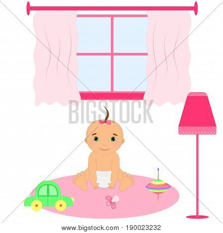 Baby room interior. Flat design. Newborn baby room with window, toys, cot, dedside table