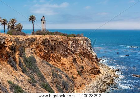 Point Vicente Lighthouse at sunset, in Ranchos Palos Verdes, California.