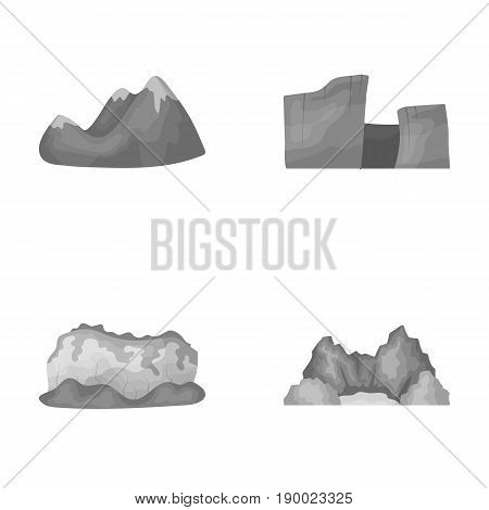 Green mountains with snow tops, a canyon, rocks with forests, a lagoon and rocks. Different mountains set collection icons in monochrome style vector symbol stock illustration .