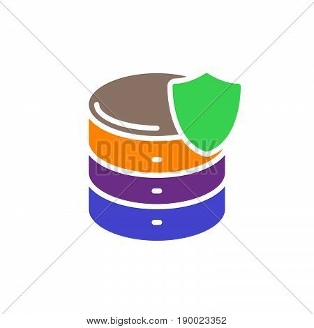 Database with shield colorful icon Server protection vector flat sign. Symbol logo illustration
