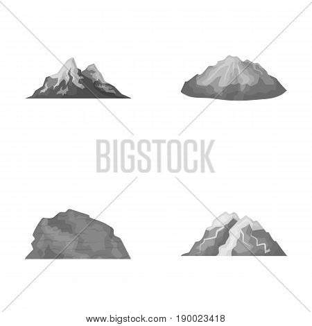 Mountains in the desert, a snowy peak, an island with a glacier, a snow-capped mountain. Different mountains set collection icons in monochrome style vector symbol stock illustration .