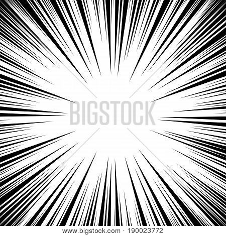 Manga Speed Lines Vector. Grunge Ray Illustration. Black And White. Space For Text. Comic Book Radial Lines Background Frame. Superhero Action. Explosion