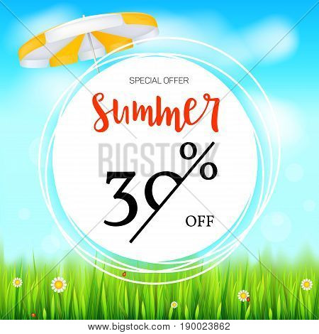 Summer selling ad banner. Thirty percent holiday discounts. Big yellow sun, green field, white clouds and blue sky. Template for shopping, advertising signboard, price reduction poster or banner.