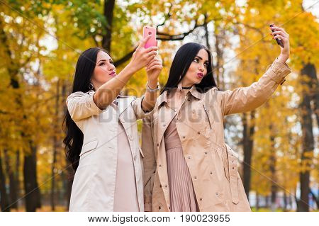 beautiful girlfriends are photographing on the phone