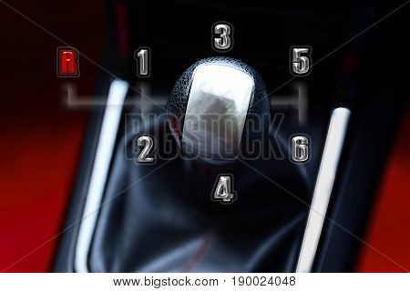 Gear stick for manual transmission for driving in car. automotive part concept. 3D illustration.