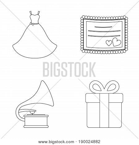 Wedding dress, invitation, gift, gramophone. Wedding set collection icons in outline style vector symbol stock illustration .