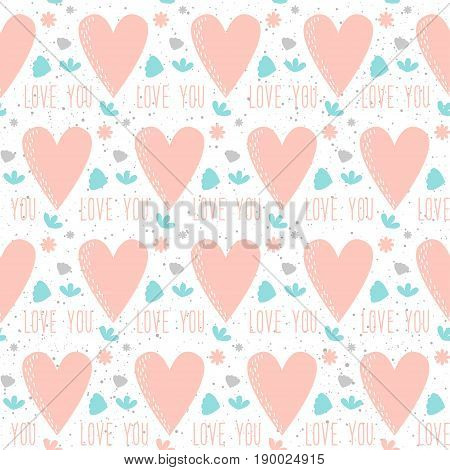 Doodle Heart. Love, Wedding Or Valentines Day Seamless Background.