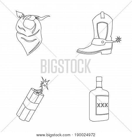 Bandage, boots, dynamite and a bottle of whiskey. Wild West set collection icons in outline style vector symbol stock illustration .
