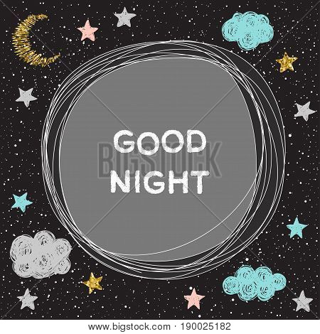 Good Night Vector Card Template.