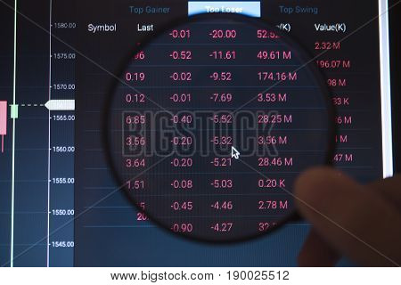 business hand holding magnifying glass with number stock graph on computer notebook screen. concept finance invesment trading.
