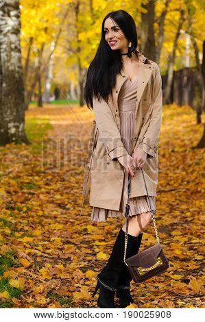 beautiful fashionable woman with handbag in hands in autumn park