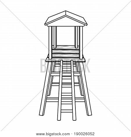 Observation tower for hunters.African safari single icon in outline style vector symbol stock illustration .