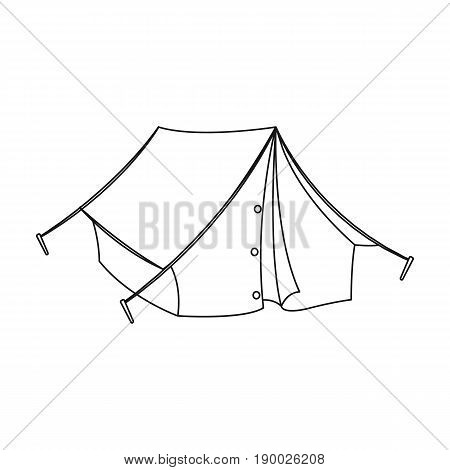 Tourist tent.African safari single icon in outline style vector symbol stock illustration .