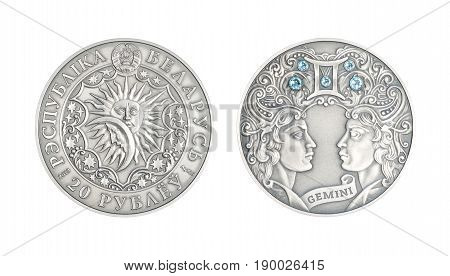 Silver coin 20 Belarus rubles Astrological sign Gemini