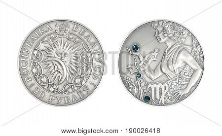Silver coin 20 Belarus rubles Astrological sign Vigro