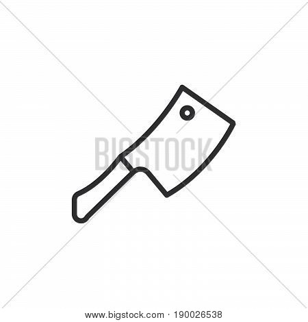 Cleaver hatchet line icon outline vector sign linear style pictogram isolated on white. Symbol logo illustration. Editable stroke. Pixel perfect