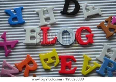 word blog on a  abstract colorful ,background