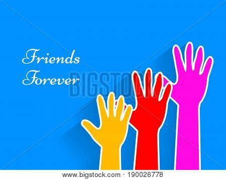 illustration of hands with friends forever text