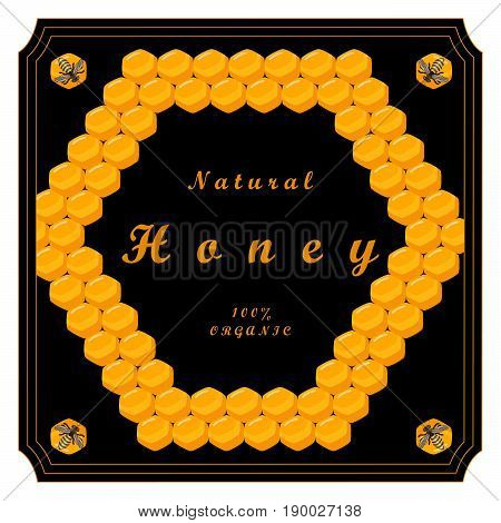 The vector shows beehive honey nectar hive swarm winged bee honeycomb wax private apiary beekeeper beeswax.Beehive honey for beeswaxes honeycombs beekeepers.Honeycomb consists from apiculture beehives