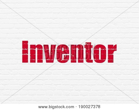 Science concept: Painted red text Inventor on White Brick wall background