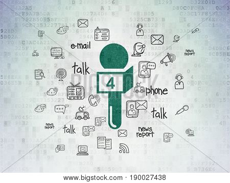News concept: Painted green Microphone icon on Digital Data Paper background with  Hand Drawn News Icons