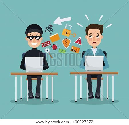 scene color thief hacker and programmer man in desk with laptops preventing attack vector illustration