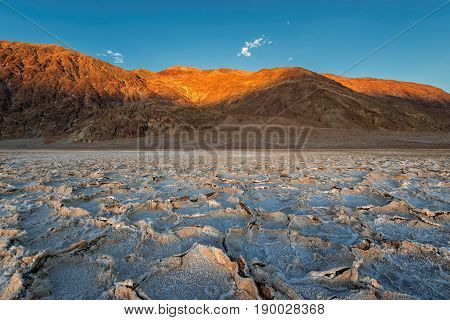 Sunset at Salt Badwater Formations in Death Valley National Park
