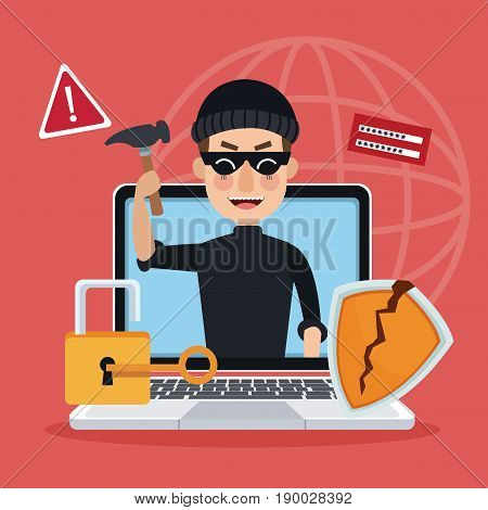 red background global world silhouette with laptop and thief man hacker alert attack vector illustration
