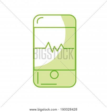silhouette technology smartphone with cardiac rhythm vector illustration
