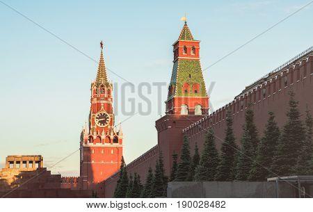 Moscow, Russia. View of the Spasskaya Tower and Lenin's mausoleum