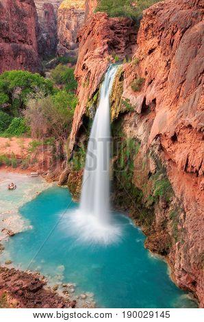 Havasu Falls, waterfalls in the Grand Canyon, Arizona. Vertical.