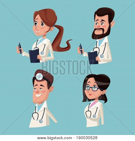 color background hospital medical half body staff team doctors vector illustration
