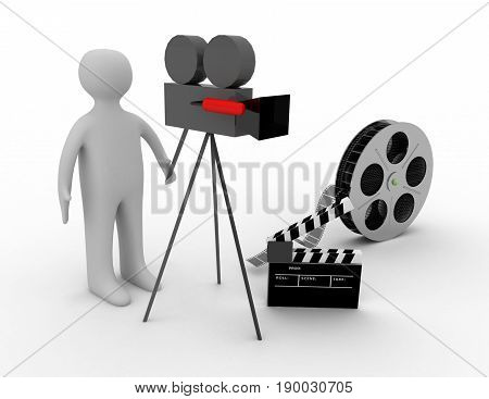 3d. cinema concept on white background  . 3D rendered illustration
