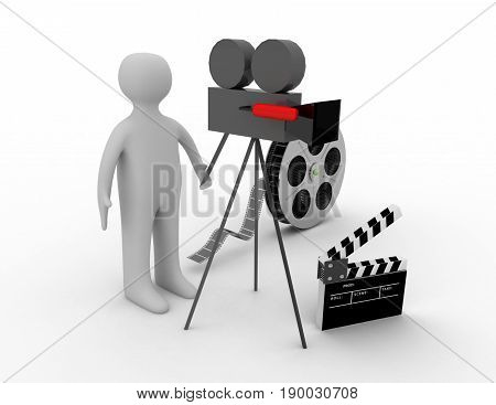 3d. cinema concept on white background  .3D rendered illustration