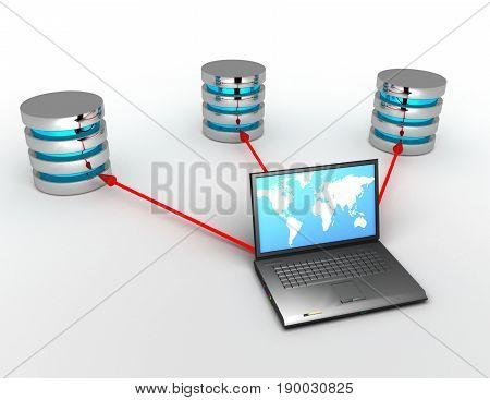 3d database concept with laptop  . rendered illustration