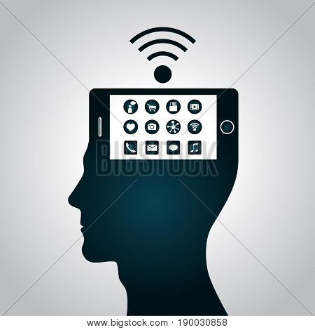 The smartphone has become a part of a human head has replaced consciousness. Change replacement way of thinking, perception management