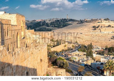 A view of Mount of Olives in the old city of Jerusalem