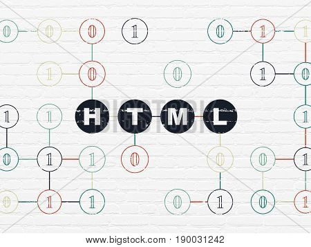 Database concept: Painted black text Html on White Brick wall background with Binary Code