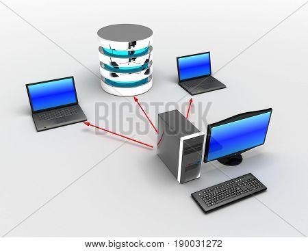 3d home network connected to internet. internet concept . rendered illustration