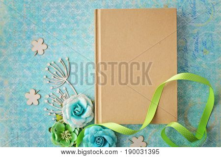 scrapbook diary or photo album