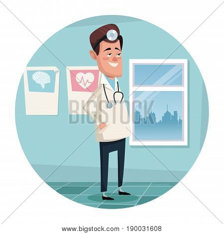 circular frame with color scene hospital room with man specialist surgeon vector illustration