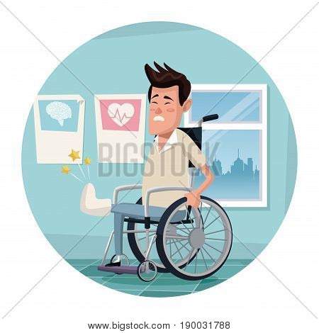 circular frame with color scene hospital room with man in wheelchair vector illustration