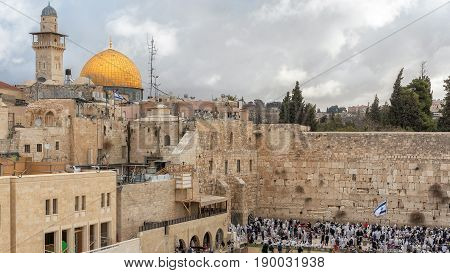 Temple Mount in the old city of Jerusalem, including the Western Wall and golden Dome of the Rock