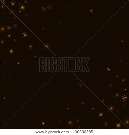 Sparse Starry Snow. Abstract Chaotic Scatter On Black Background. Vector Illustration.