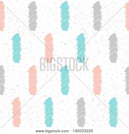 Doodle Line Seamless Background. Grey, Pink And Blue Line.