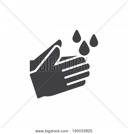 Wash hands icon vector filled flat sign solid pictogram isolated on white. Hygiene symbol logo illustration. Pixel perfect