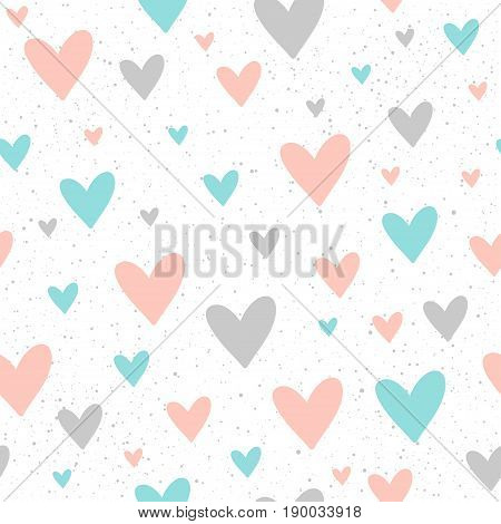 Heart Seamless Pattern Background. Doodle Handmade Blue, Pink And Grey Heart