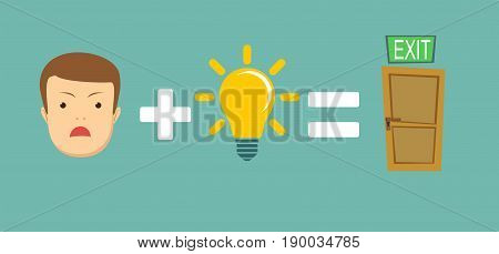 sad face plus idea equal to solving the problem .Man find a way out. Stock vector illustration for poster, greeting card, website, ad, business presentation, advertisement design.
